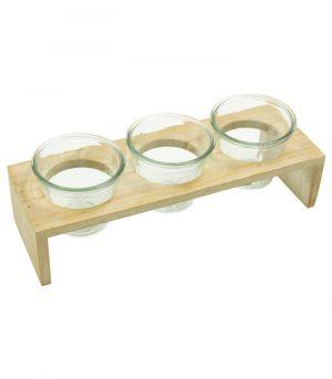 Dřevěný stojan se třemi skleněnými nádobami - Creme