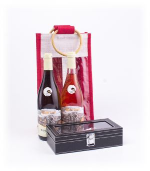 Dárková jutová taška s 2 ks vína a sommeliérskou soupravou