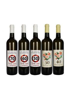 Víno k jubileu - Značka - Květiny, Chardonnay 2019, pozdní sběr, polosuché 0,75l