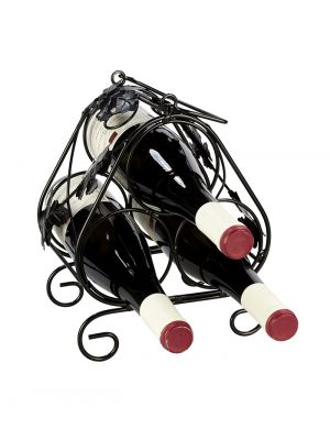 Stojan na víno na 3 láhve-černý