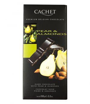 Hořká čokoláda s hruškou a mandlemi, Cachet