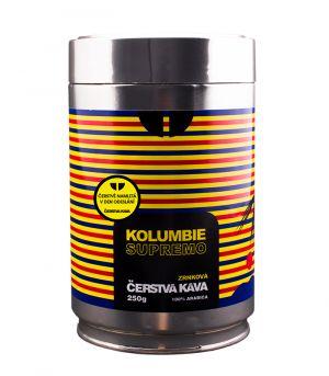 Čerstvá káva  Kolumbie Supremo, mletá, dóza