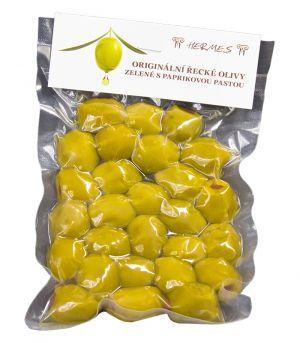 Originální řecké olivy zelené s paprikovou pastou, vakuované, D.M.Hermes