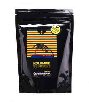 Čerstvá káva Kolumbie Supremo, mletá
