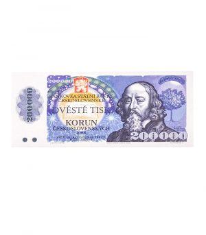 Bankovka státní banky československé 200 000 Kčs, 60g