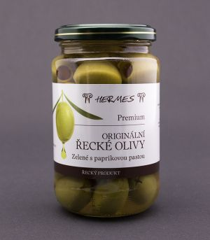 Originální řecké olivy zelené s paprikovou pastou ve skle, Premium, D.M.Hermes