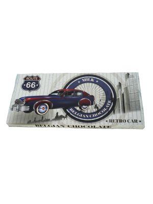 Belgická mléčná čokoláda Retro cars - modré auto 400g