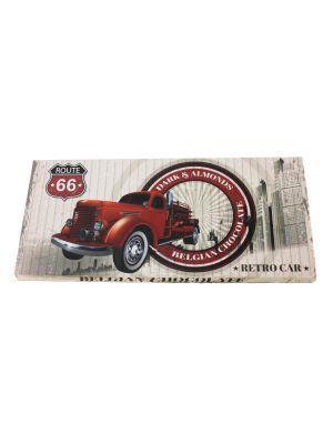 Belgická hořká čokoláda s mandlemi Retro cars - červené auto 400 g