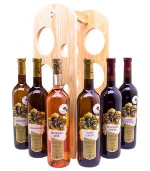 Vinařství Krist Tomáš, degustační set vín se stojanem na víno, 2011, 6 x 0,75 l