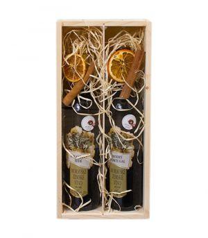 Dekoračně balené 2 ks vína v dřevěné krabici Nabu