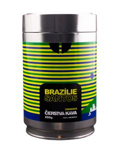 Čerstvá káva Brazílie Santos, zrnková, dóza