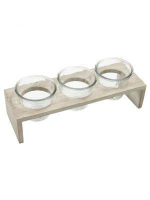 Tři skleněné nádoby Xavannah v dřevěném stojánku