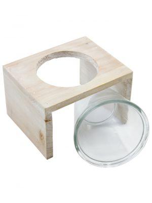 Skleněná nádoba Xavannah v dřevěném stojánku