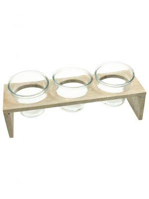 Dřevěný stojan se třemi skleněnými nádobami - Grey