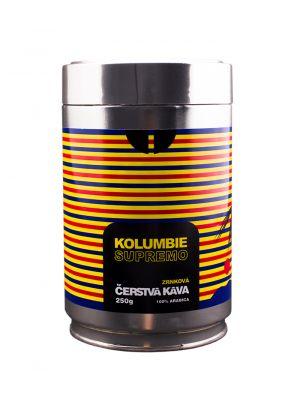 Čerstvá káva Kolumbie Supremo, zrnková, dóza