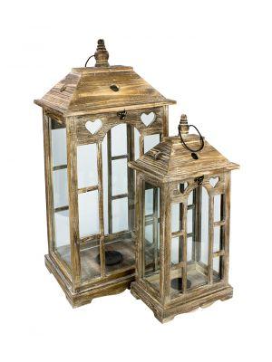 Dřevěná lucerna, sada 2 kusů - LT0146bx