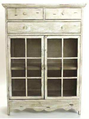 Dřevěná dekorační komoda Xandra, šedobílá